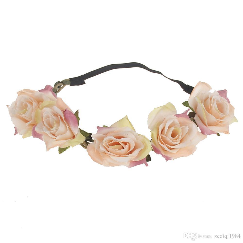 Doce Cabelo Flor Coroa Headwear Menina Ccessórios de Cabelo Headband Summer Beach Mulheres Ajustáveis Rose Flor Coroa