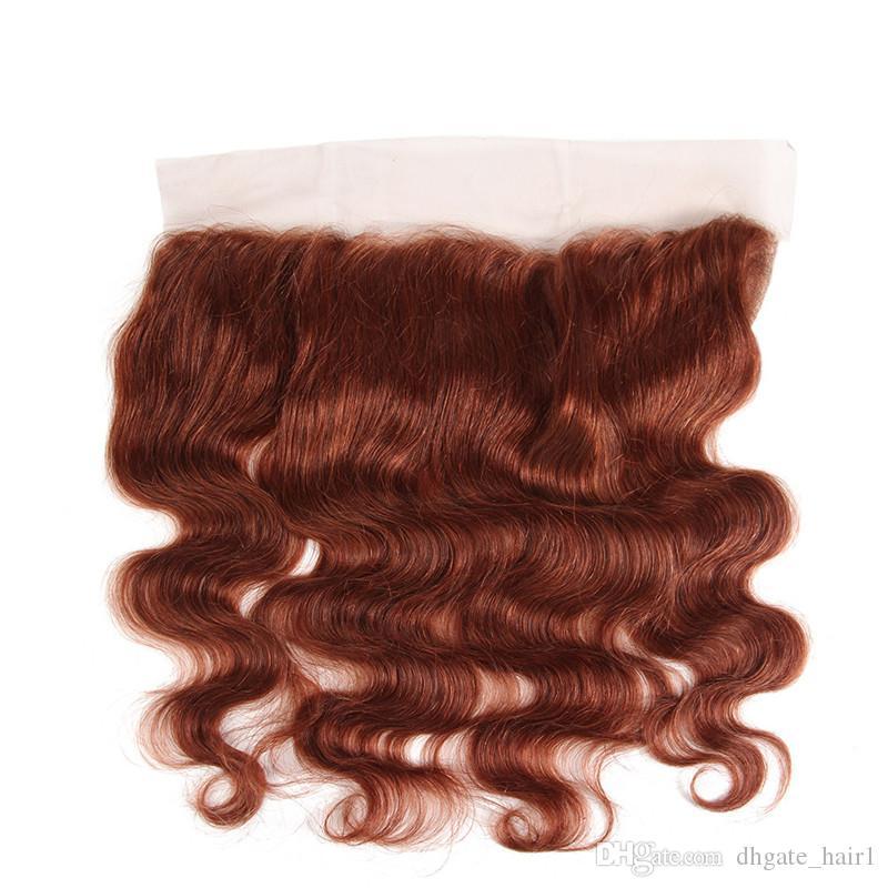 # 33 Kupfer Rot Virgin Indische Menschenhaare Wefts Extensions mit Spitze Frontal Schließung 13x4 Gerade Dark Auburn Menschliches Haar Spinnt 4 Bundles