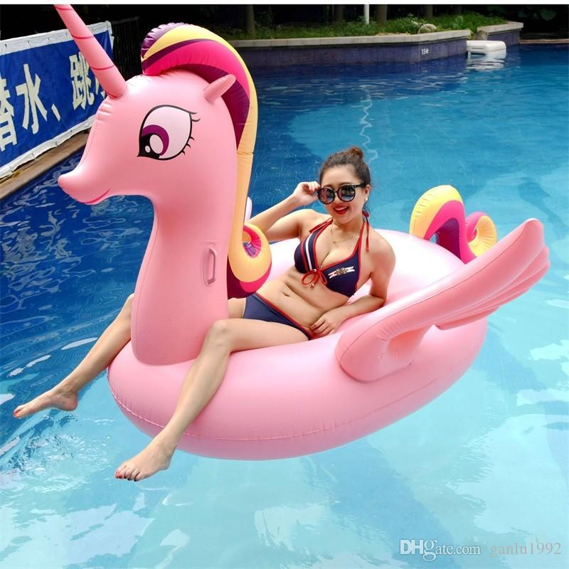 Summer New Product Large Color Unicorn Water Sports Play Swimming Supplies Inflatable Floats Portable Beach Funny Pad 95hm W