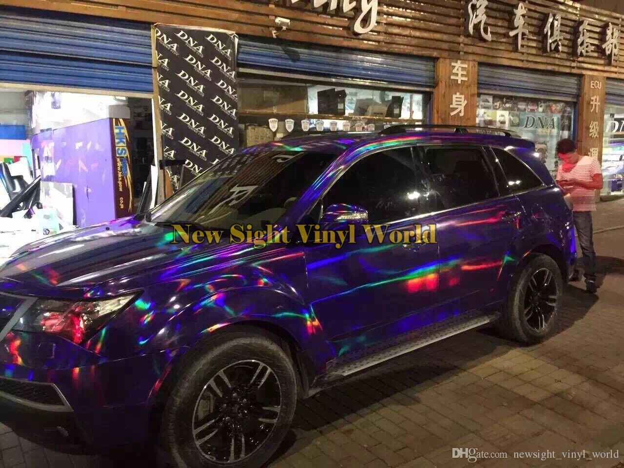 Vinyl Wrap Cost >> Iridescent Purple Holographic Kaleidoscope Car Body Film ...