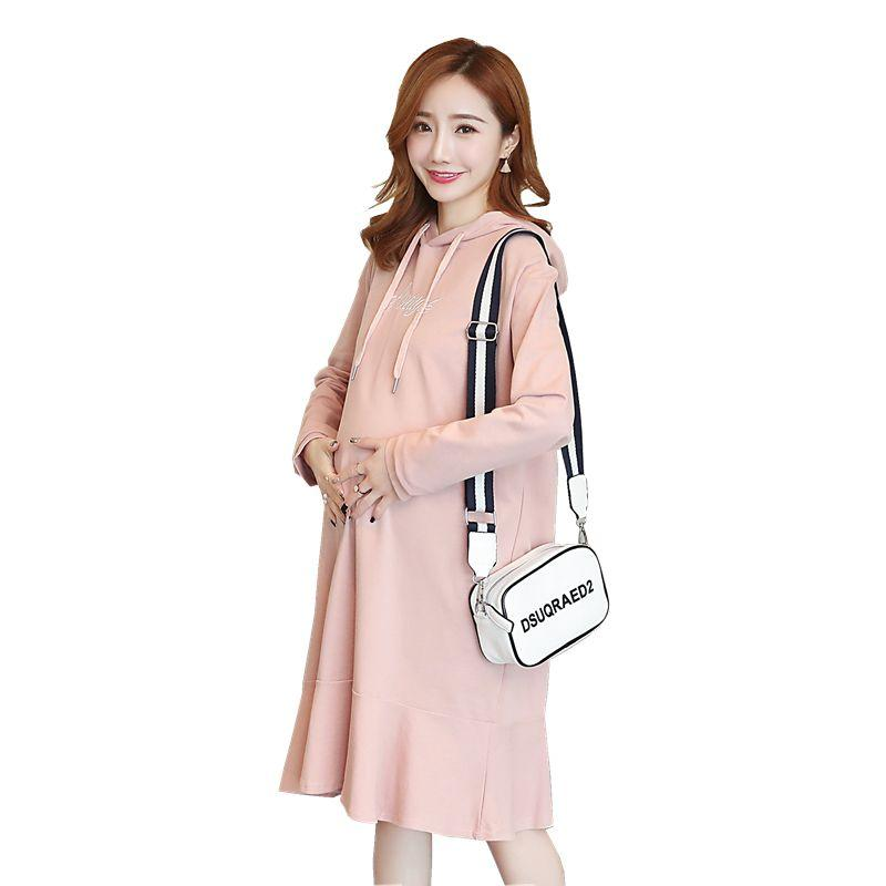 c3b3c84db72 Autumn Casual Hoodie Maternity Dress Loose Clothes for Pregnant ...