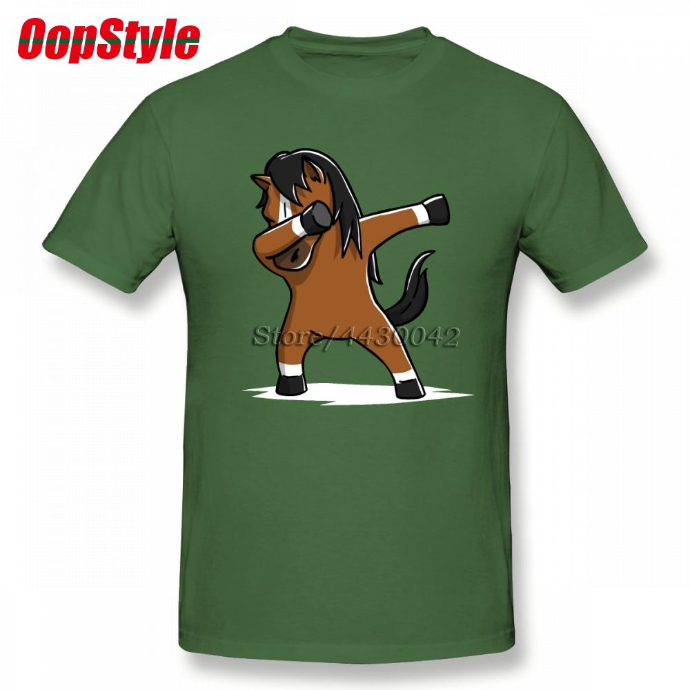 5fd39525 Dabbing Funny Horse T-shirt For Men Short Sleeve Cotton Plain Custom ...
