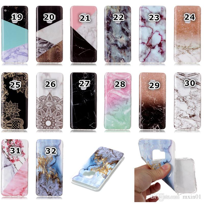 Marble Rock Grain Flower Skull Hybrid Silicone Natural Stone Marmor Siliocne Soft TPU Gel IMD Case Cover For iPhone X 7 8 Samsung S9 Plus