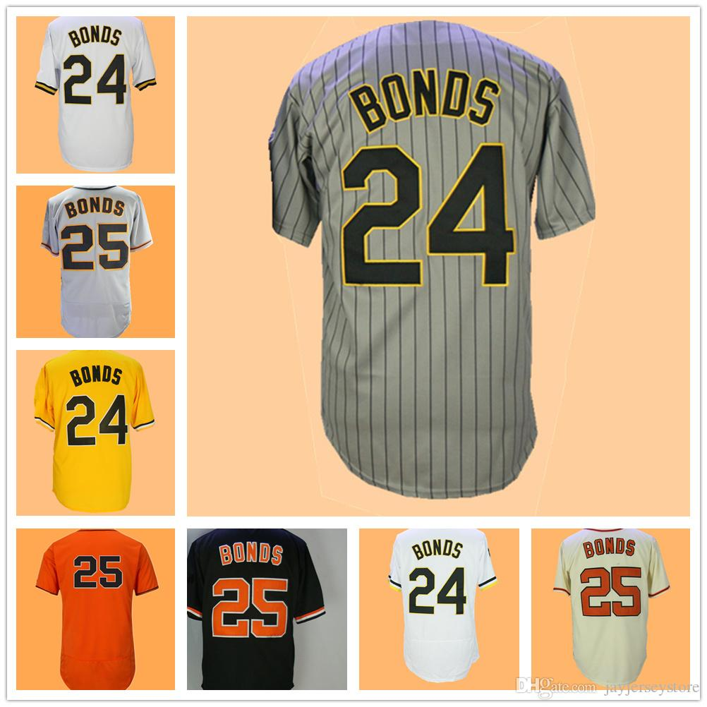 Barry Bonds Jersey 24 25 Grey Pinstripe White Orange Black Pullover Button  Down Home Away Cream Yellow Dwyane Wade Jersey Online with  22.85 Piece on  ... 6a8770a2d