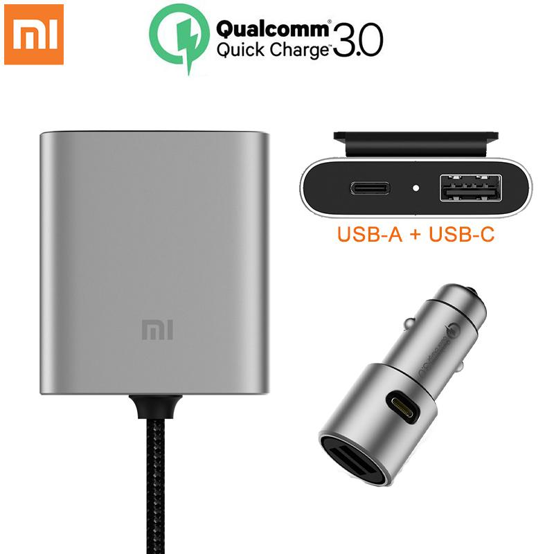 qc3.0 charger Original Xiaomi Car Charger QC3.0 Fast Version Extended Accessory USB-A USB-C Dual Port Output Smart