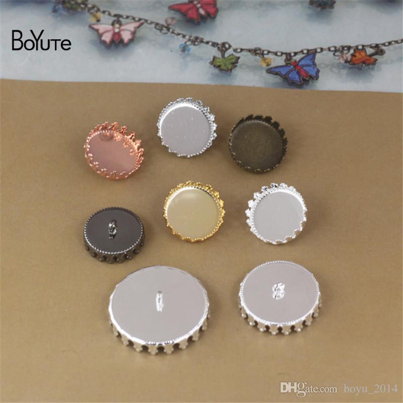 BoYuTe 를 라운드 12 MM 15MM 20MM 25MM 카보 숑 자료 설정 빈 버튼 트레이 금속 구리 DIY의 쥬얼리 액세서리 부품