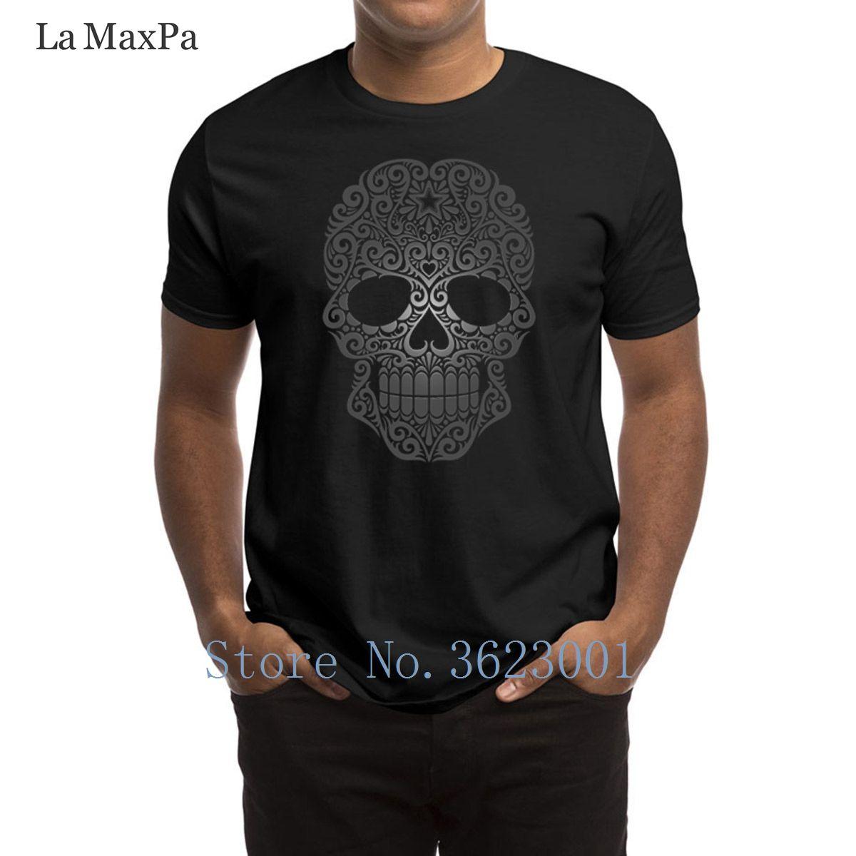 Printing Normal Mens T Shirt Dark Swirling Sugar Skull T Shirt
