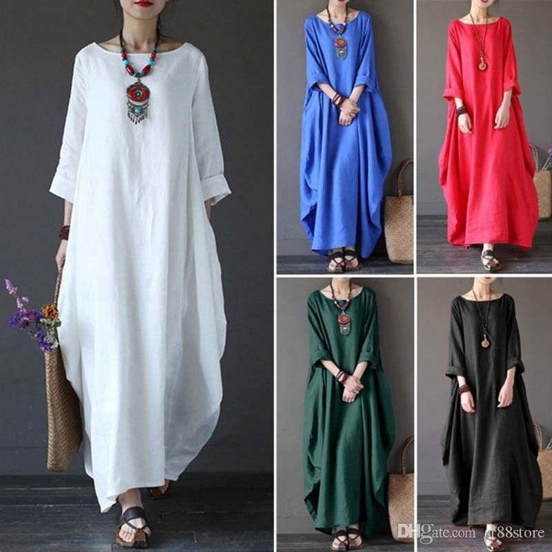 17db375cc15 Plus New Womens Casual Long Sleeve Baggy Cotton Linen Lang Maxi Dress  Kaftan Size L 5XL Evening Gowns Cheap Prom Dresses From Sf88store