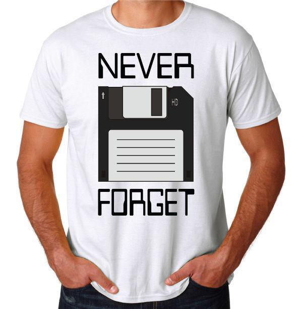 Never Forget Floppy Computer Disk Funny Geek Nerd Mens Novelty White New T-Shirt