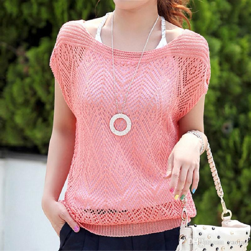 Wholesale-2016 fashion korean & japanese batwing t shirt women crochet mesh tops tee t-shirt vrouwen femme for ladies,camisetas mujer