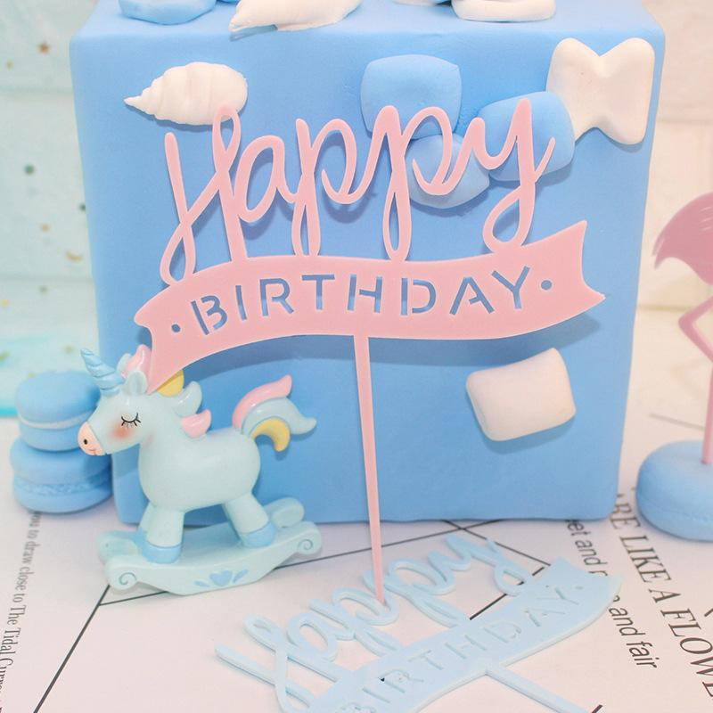 2019 Pink Blue Happy Birthday Cake Flags Acrylic Topper For Girl BoyS Party Decor Supplies Hot Sale From Hilery 2078