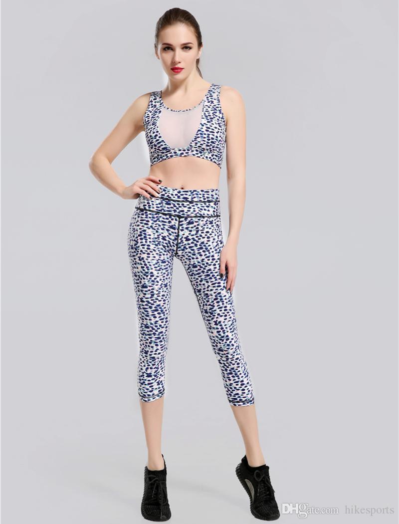 28fa6de5a693 Leopard Print Top Pants Gym Suit Womens Sports Tank Top Yoga Capris  Sportswear Workout Fitness Capri Pants Sleeveless High Waisted Leggings