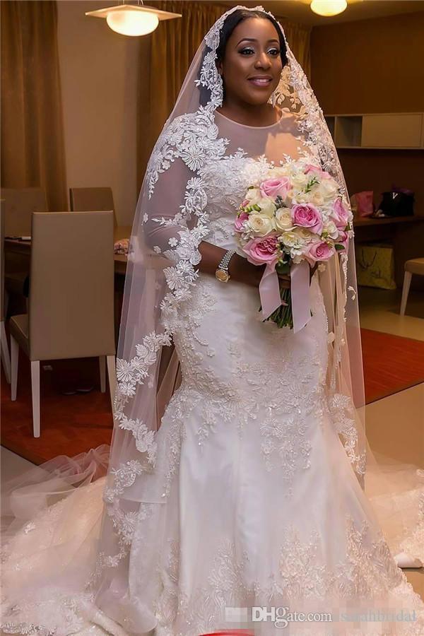 Plus Size Vestidos De Noiva Sereia Com Mangas Apliques De Renda Sereia Sheer Vestidos de Noiva Ocidental Elegante Vestido Maxi Para Noivas Do Tamanho Grande