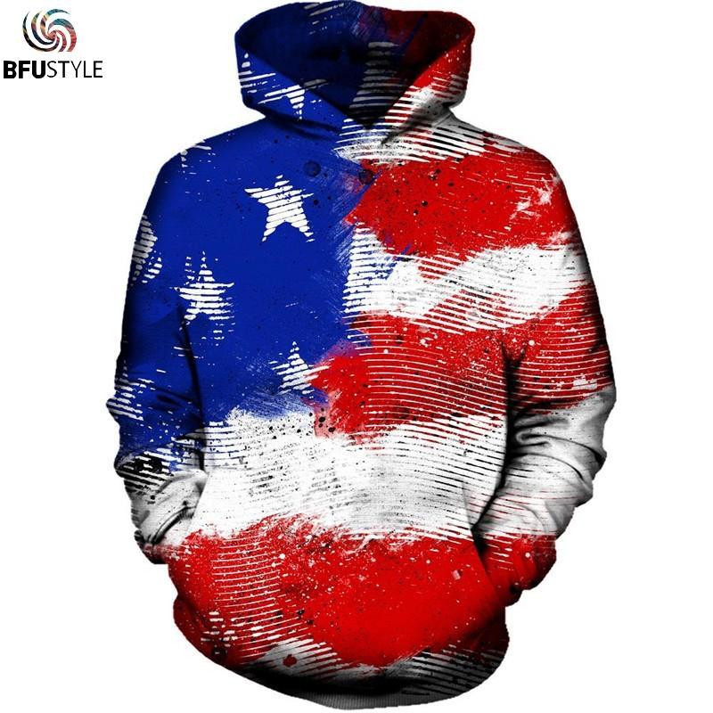 Compre Sudadera Con Capucha De La Bandera Americana Hombres Mujeres Otoño  Invierno Sportswear Chándal 2018 Sudadera Con Capucha De Manga Larga  Sudadera Con ... af550d23d24