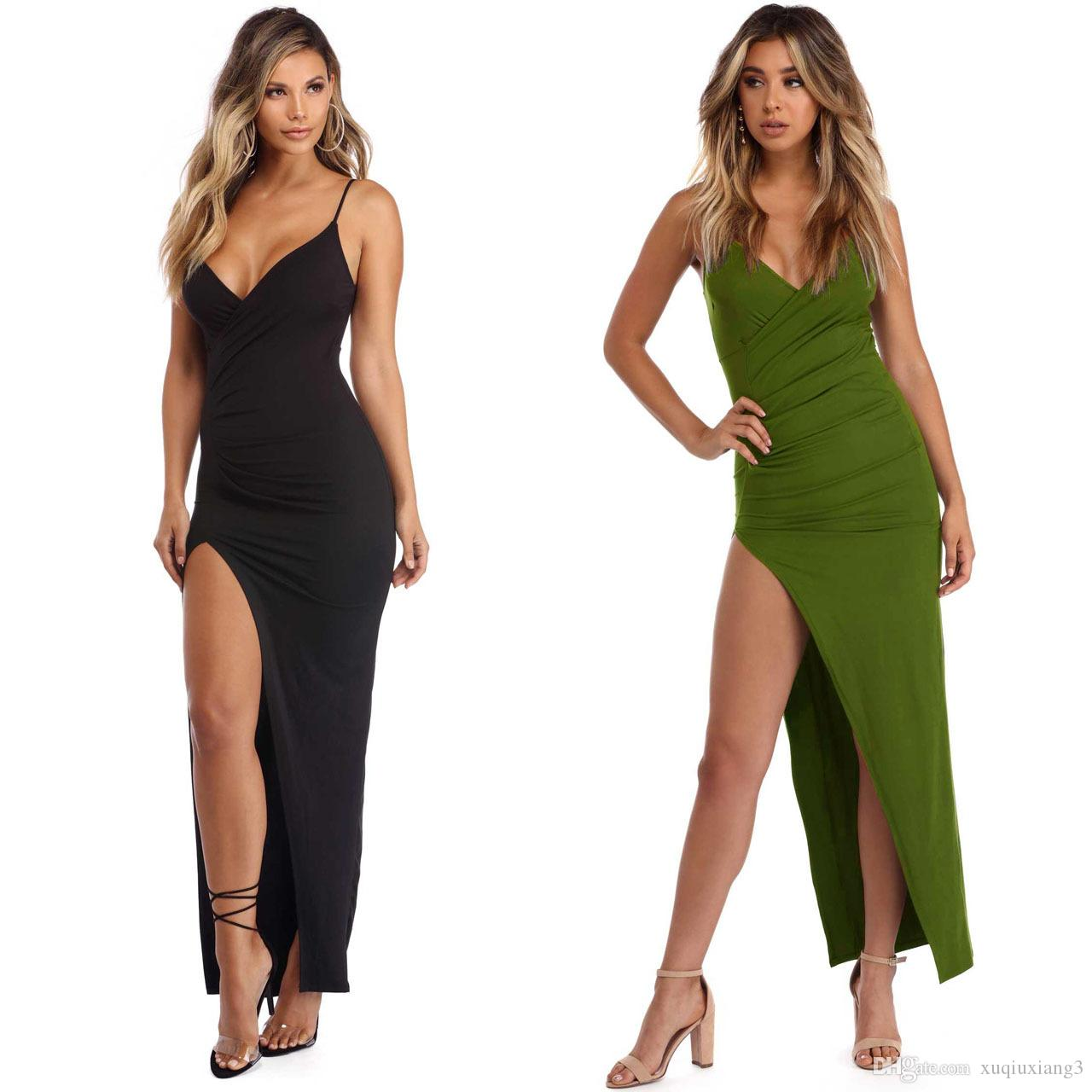 292ad81d7ef Maxi Party Dress Women Pink Plunge Neck Sexy Cross Back Wrap High Slit  Summer Dresses Elegant Club Long Cami Dress Womens Sundresses On Sale Party  And ...