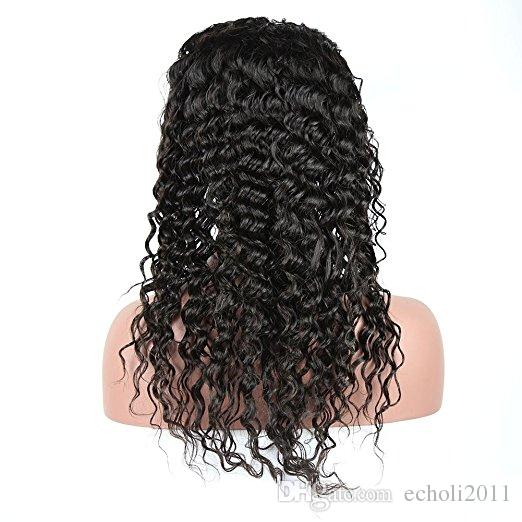 Brazilian Virgin Deep Wave Lace Front Human Hair Wigs For Black Women With Baby Hair 180% Density 18 inch ,Natural Color