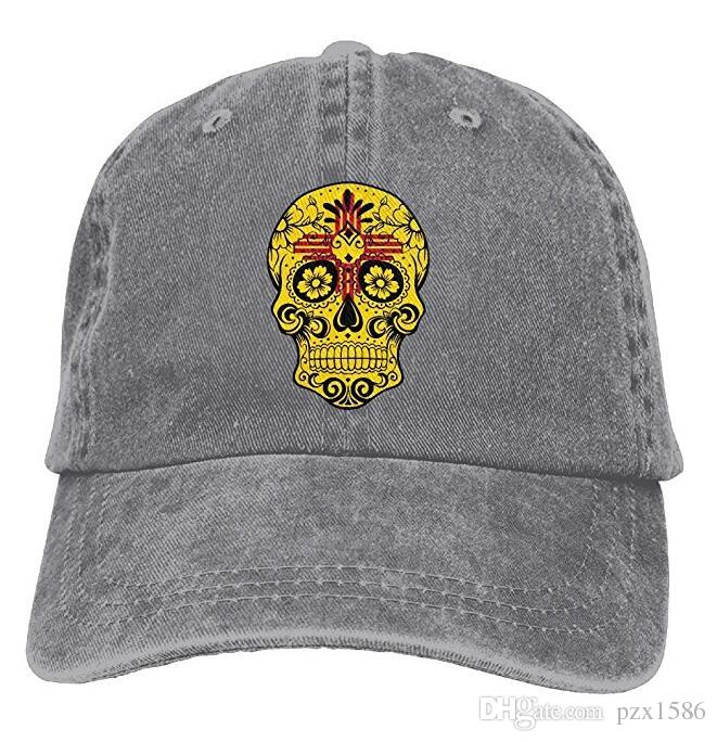 9a1e9ae7d pzx@ Baseball Cap For Men and Women, New Mexico Flag Sugar Skull Women's  Cotton Adjustable Jeans Cap Hat Multi-color optional