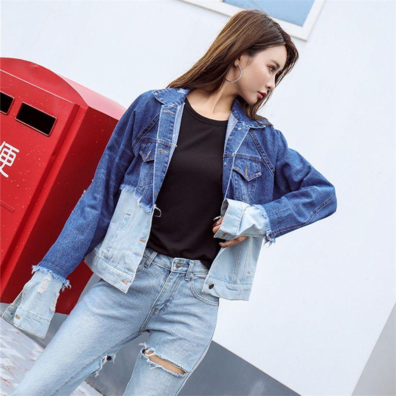 e16b40b4b02c7 Korea Fashion Autumn Winter Cotton Spliced Women Denim Jacket Femme Vintage  BF Loose Long Sleeve Jeans Jacket Bomber Casual Coat Black Jacket Fleece  Jackets ...
