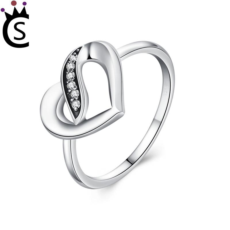 Authentic 925 sterling silver ring love heart rings With zircon 925 sterling silver rings luxury jewelry fit pandora