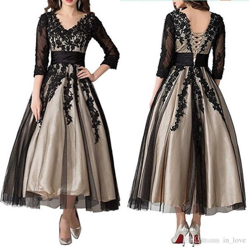 3/4 Langarm schwarzer Spitze Kleid für die Brautmutter bodenlangen V-Ausschnitt Champagnerfutter Hochzeitsgast Kleid Besondere Anlässe