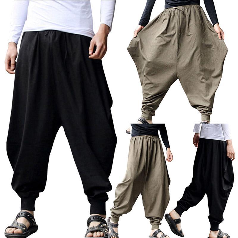 fa4fd998c6 Pantalone di lino maschile in cotone casual maschile Pantalone maschile in  harem con pantaloni alla caviglia con cinturino alla caviglia