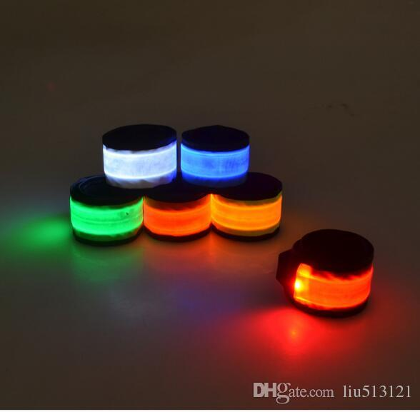 / New HOT LED Hand Strap Glitter Pat Wristband Ring Safety Reflective Flash Glowing Luminous Armband Nylon Cloth For Adult and Kid