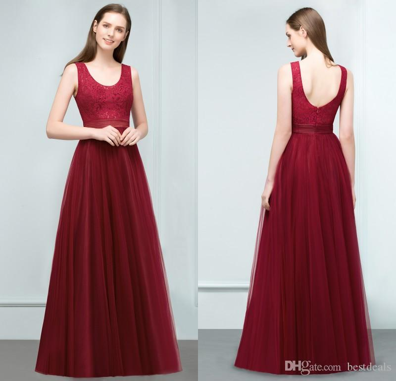 Real Pictures 2018 Cheap Burgundy Long Bridesmaid Dresses Scoop ...