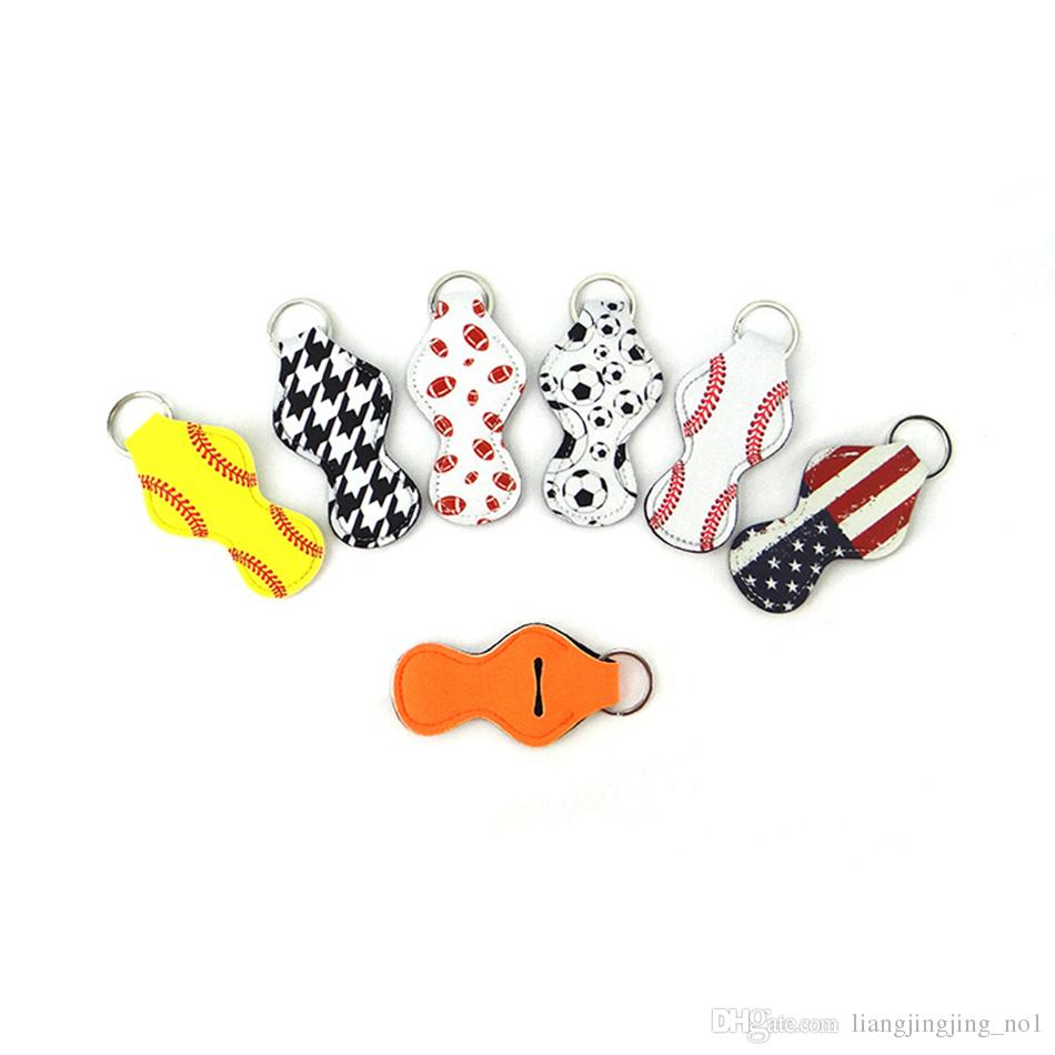 Colorful Key Chain Lipstick KeyRing Holder Blanks Neoprene Holder Baseball Softball Stripe Printing Lipstick Cover Case Party Favor OOA4888