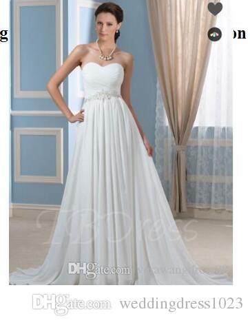 d442a3895fae4 Acheter Robes De Mariée De Maternité En Mousseline De Soie Plissée Perlée  Une Ligne Robe De Mariée De Maternité Sans Bretelles De  118.6 Du  Weddingdress1023 ...