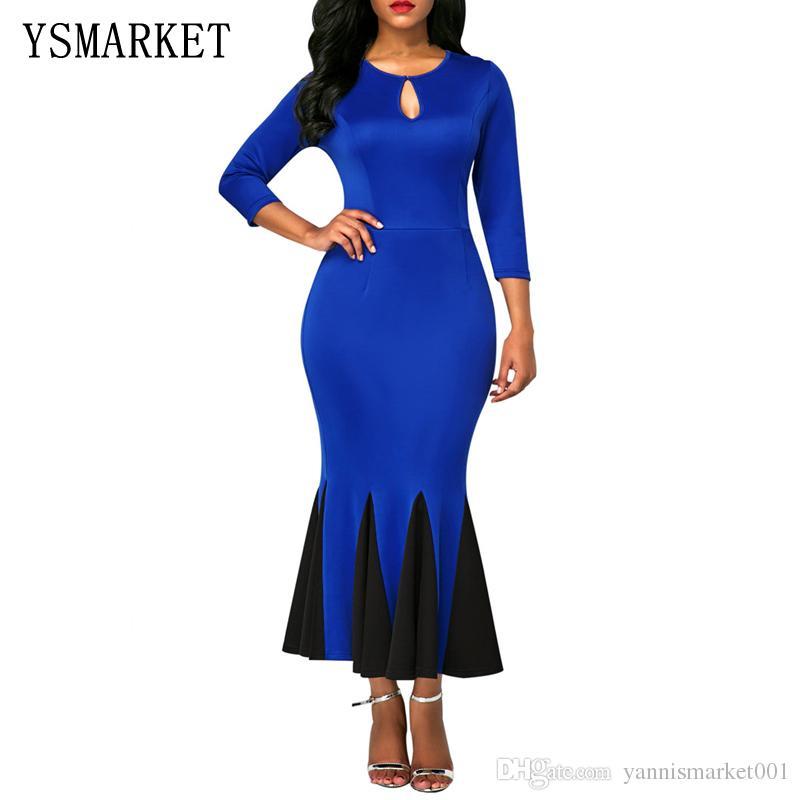 029c76a81197 2018 Elegant Ladies Keyhole Front Flounce Hem Vintage Mermaid Dress Sexy  Party Long Sleeve Ankle-Length Bodycon Evening Dress E61836