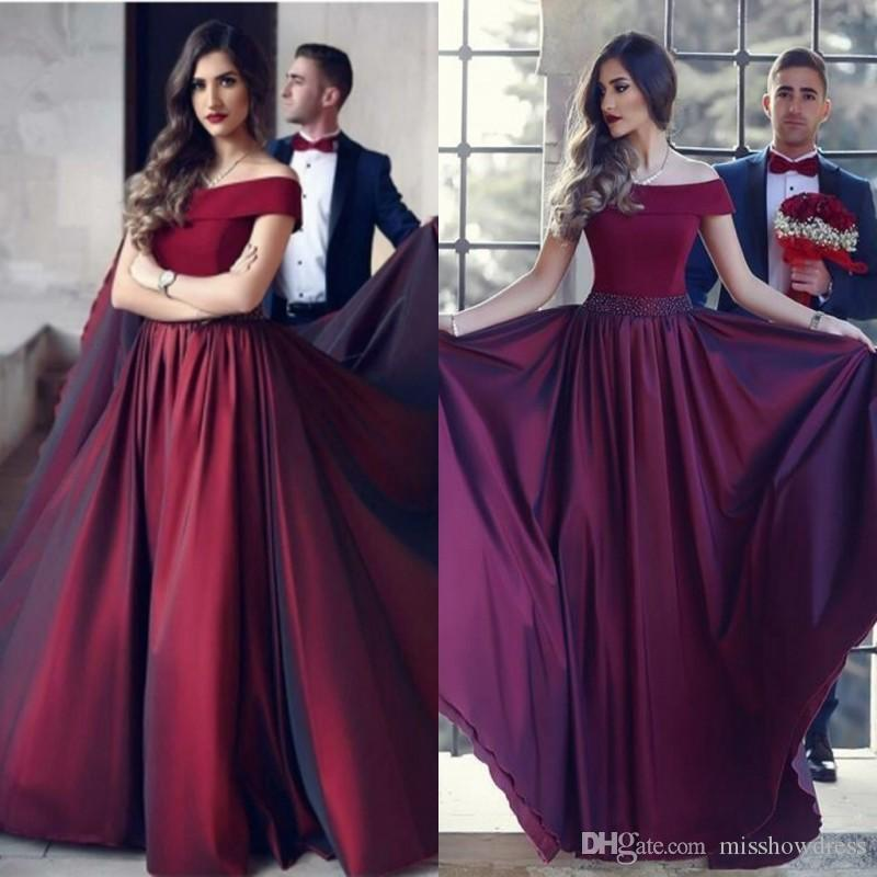2018 Elegant Burgundy Off,Shoulder Evening Dresses Beads Prom Dress Red  Carpet Dress Long Formal Arabic Plus Size Custom Made Evening Gowns