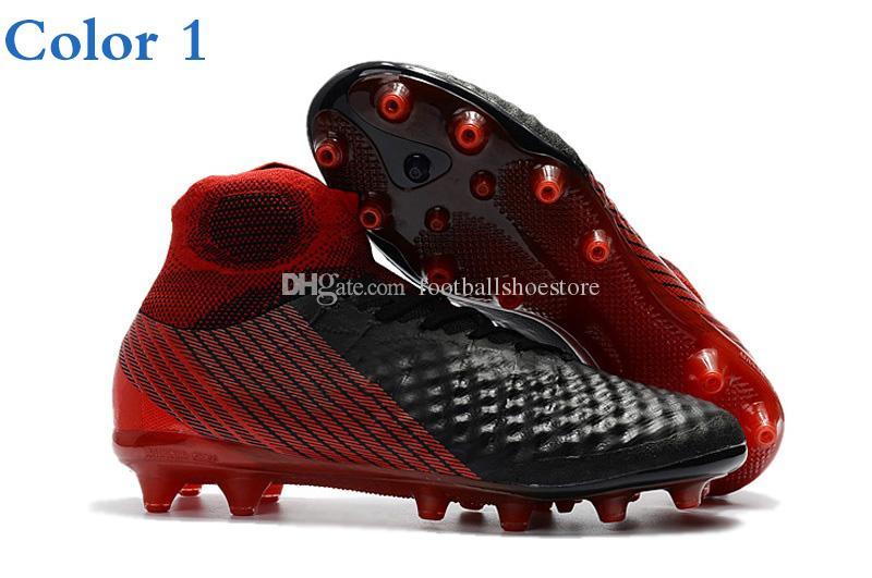 2018 bottes de football pour hommes Magista obra II AG TF IC -Volt / Black / Total Orange Crampons de football hautes chaussures de soccer pour football
