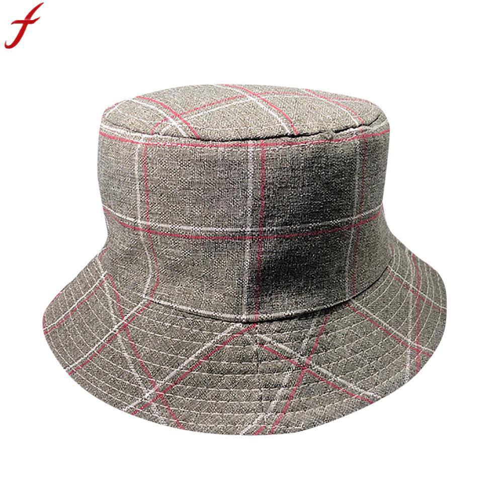 2018 Summer Hat Women Mens Plaid Bucket Hat Femmes Hip Hop Print