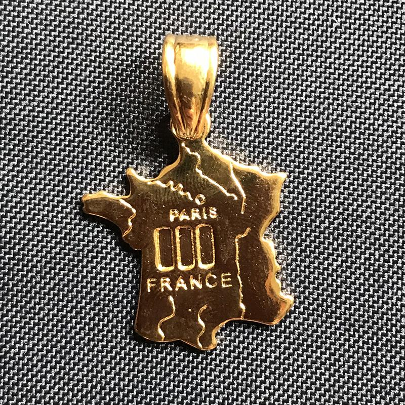 Countries Map Theme Pendant France French 18K Real Gold Plated Brass Charms Making Men Women Necklace Jewelry Findings Components Wholesale