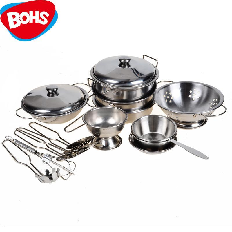 2018 stainless steel pots and pans pretend play kitchen for Harga kitchen set stainless per meter