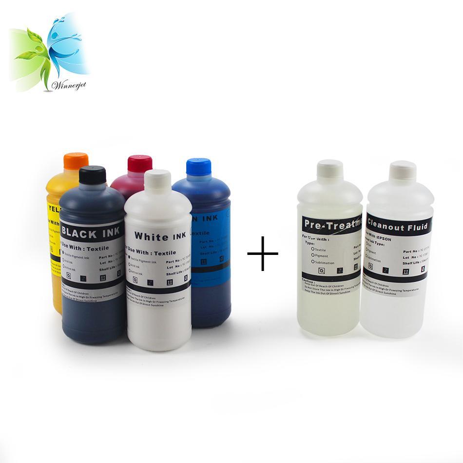 2 white C M Y K Pre-treatment white ink textile DTG for f2000 l800 1390  L1800 printer head cotton garment printing
