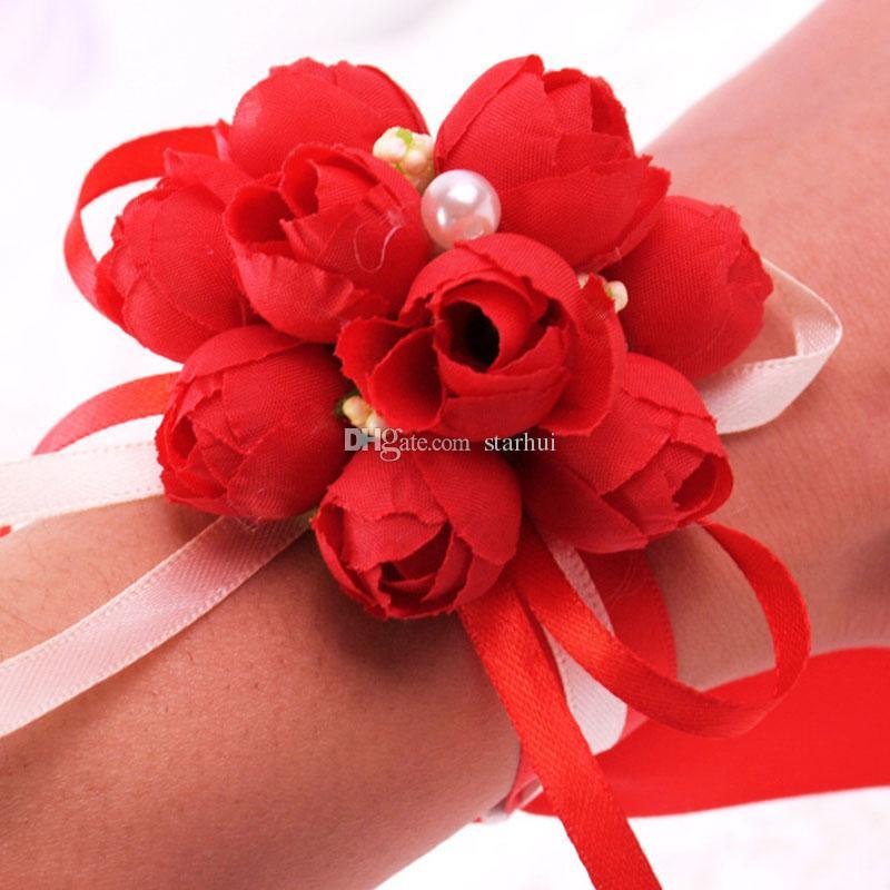 Искусственные Цветы Свадебные Украшения Бутоньерка Жених Жених Булавка Брошь Корсаж Костюм Невесты Невесты Наручные Цветок Атласная Роза WX9-397