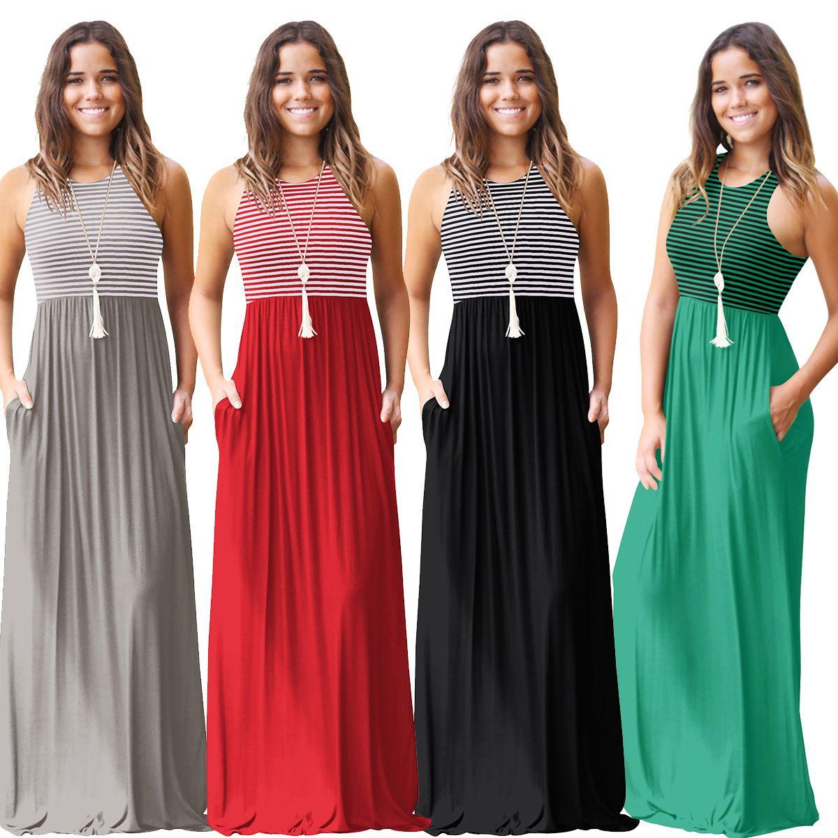 da773049c61 Women S Summer Sleeveless Striped Tank Dress Femme Boho Long Dress Women  Casual Pocket Beach Sundress New Maxi Dress Purple Dresses Winter Dresses  From ...