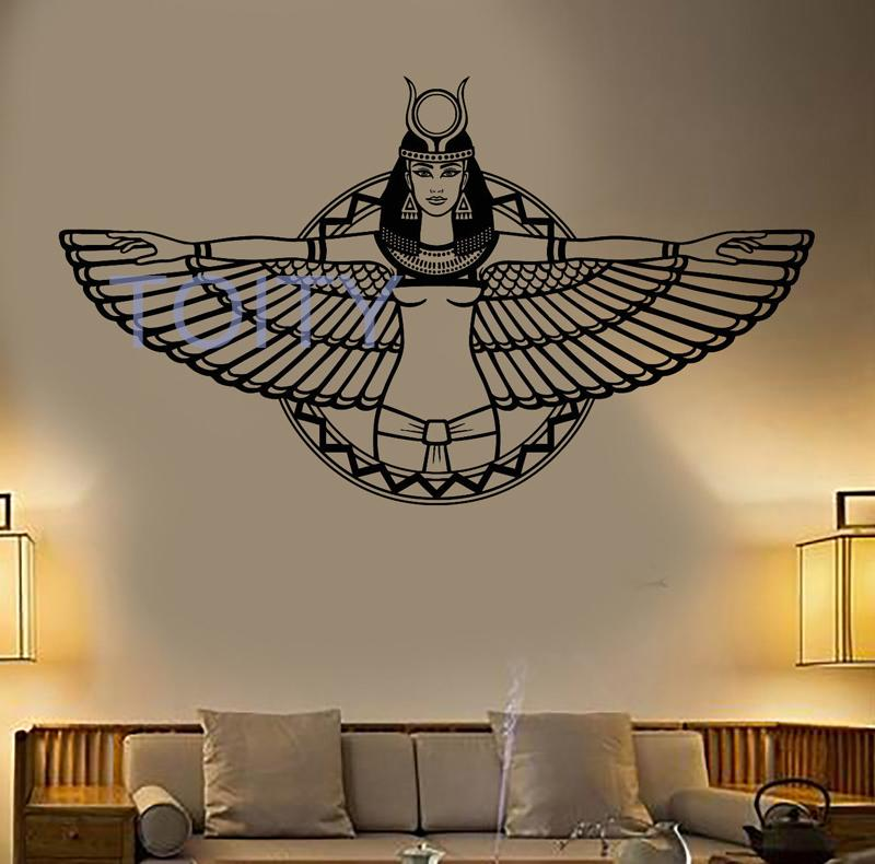 ancient egypt queen cleopatra egyptian wings vinyl wall art sticker