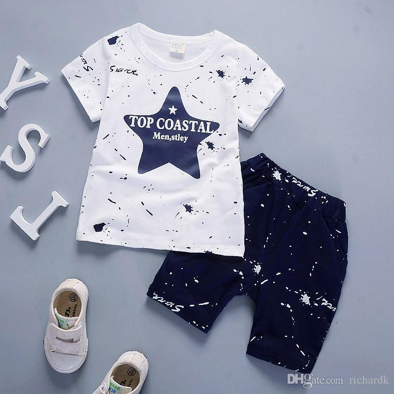Baby Boy Clothes Niños Summer Toddler Clothing set Cartoon 2018 Nuevos Niños Moda Algodón Cute Stars Sets