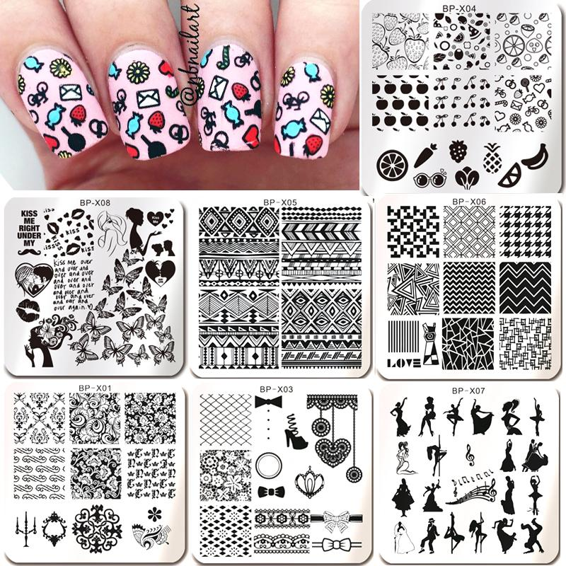 New Born Pretty Nail Stamping Plates Flower Butterfly Fruit Pattern