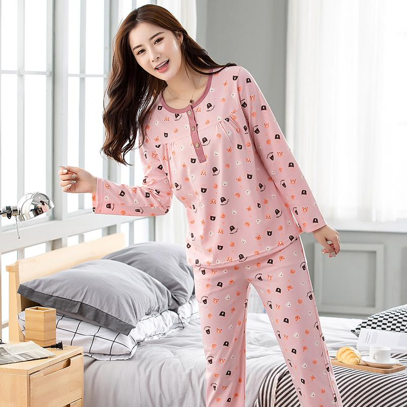 198c31fbee 2019 Autumn Winter Pajama Sets Women S Cartoon Print Long Sleeves ...