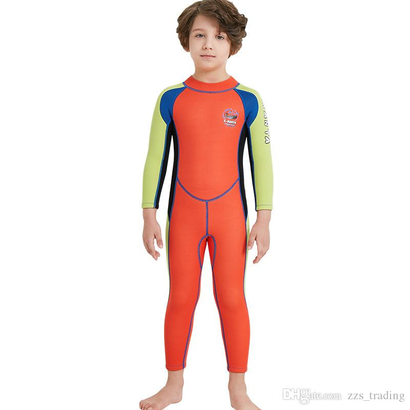 cb8330846fa91 2019 Kids Diving Suit 2.5MM Neoprene Wetsuit Children For Boys Girls Keep  Warm One Piece Long Sleeves UV Protection Swimwear Hot Products Soft From  ...