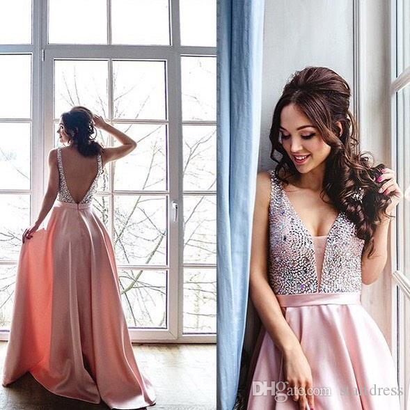 New Pink Blue Elegant Prom Dress 2018 Plunge Sequin Rhinestone Long Evening Party Gowns Special Plus Size Backless arabic Girl Cheap