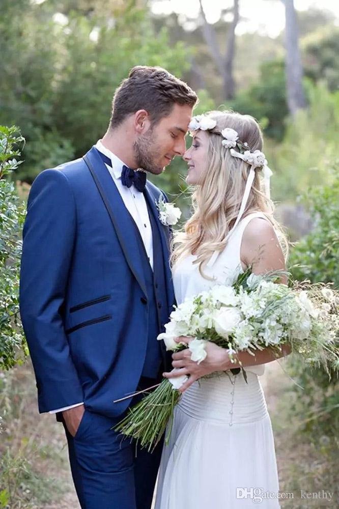 Royle Mavi Erkekler Man Damat Uyarlanmi Smokin 3 adet Slim Fit Örgün Sağdıç Balo İyi Man For Custom Made Düğün Suits