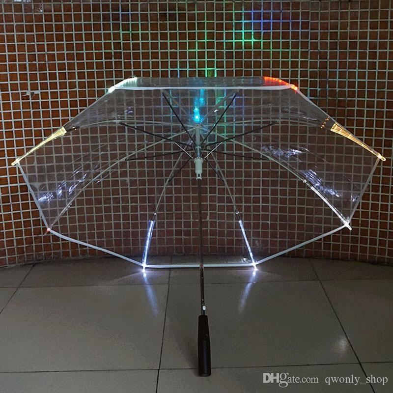 New Changing Color LED Luminous Transparent Umbrella Rain Kids Women with flashlight for friends Gift