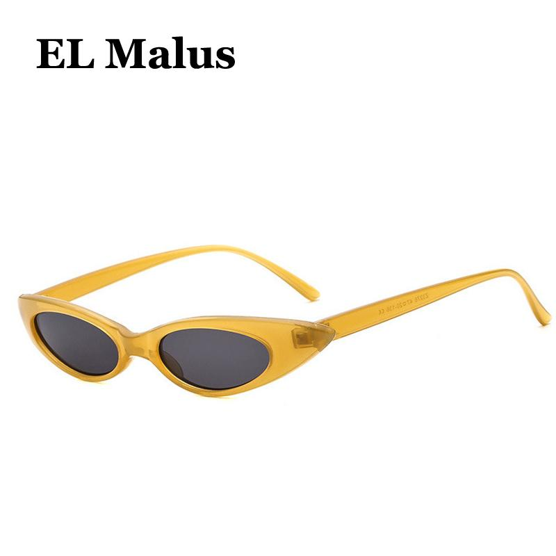 thin Cat Eye Metal Frame Sun Glasses Women Female Sexy Ladies Pink Yellow Lens Gold Black Shades Oculos De Sol Women's Sunglasses el Malus