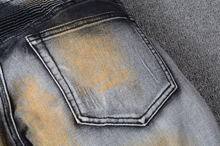 SS18 Skinny Slim Fit Washed Coating material Luxury Denim Elastic Motorcycle Men BM8803 Jeans Designer Splash ink Men Jeans SZ28-40