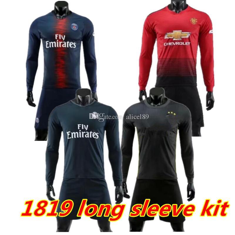 18 19 PSGo Long Sleeve Soccer Jersey MBAPPE CAVANI POGBA Full Saint ... 01c9d2223