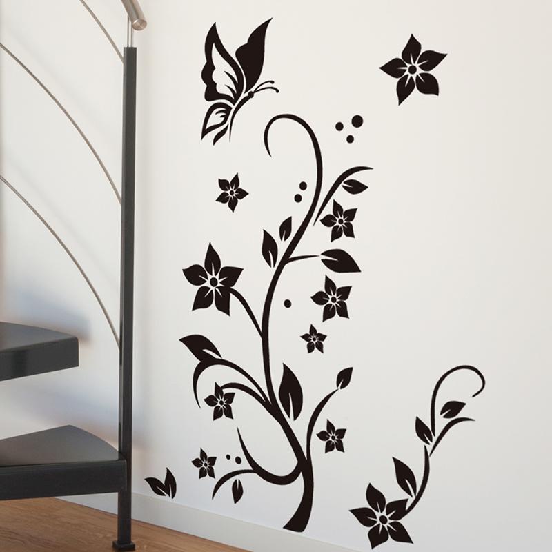 black vine flower wall stickers diy vinyl wall decal butterflies for